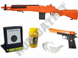 US Army BB Gun Bundle Spring M14 & 1911 Replica + Pellets & Target Set 2 Tone Orange